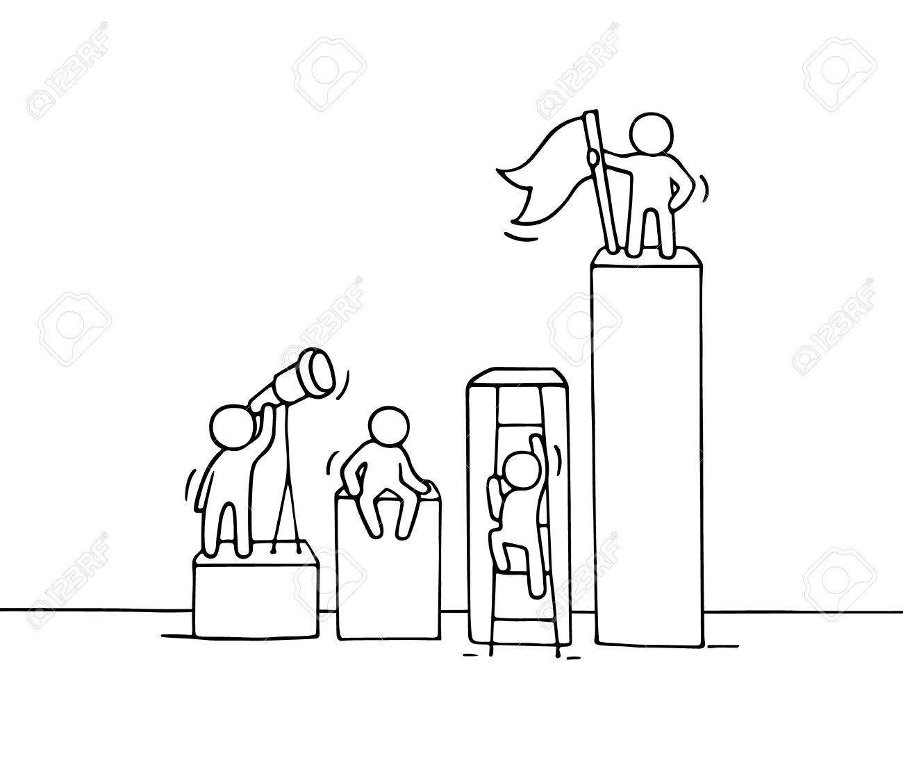 1300x1114 Sketch Of Diagramm With Working Little People. Doodle Cute