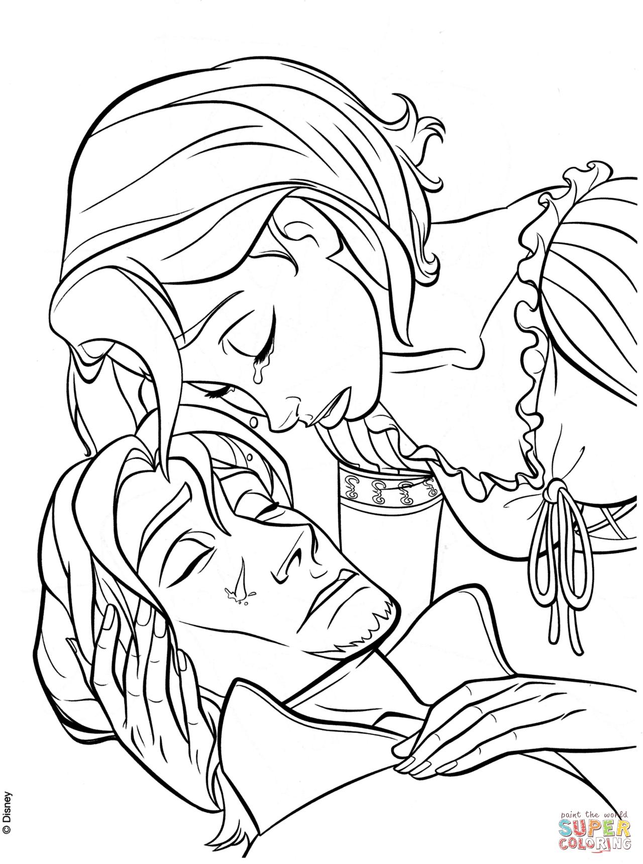 1280x1719 Rapunzel's Tear Heals Flynn Coloring Page Free Printable