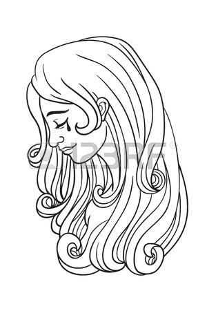 300x450 Sad Woman With Tear, Digital Paint In Ink Sketch Design Style