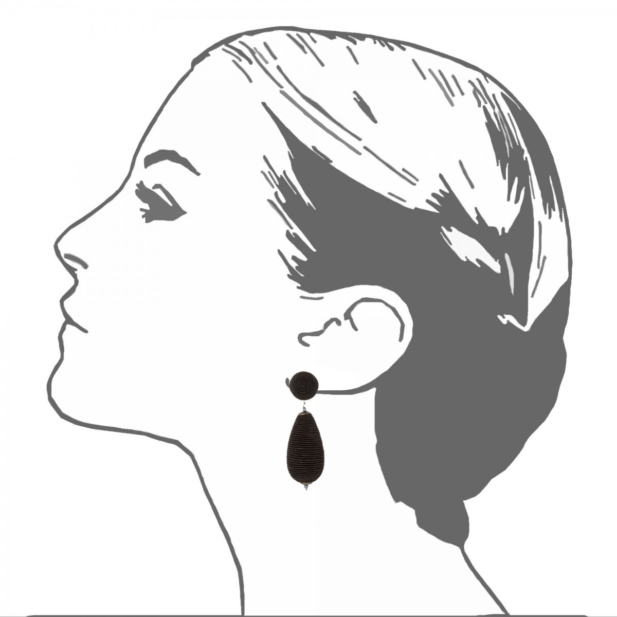 1200x1200 Silk Cord Wrapped Teardrop Earrings Black