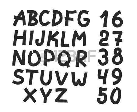 450x367 Hand Drawn Letters And Numbers Font. Bold Comic Modern Marker
