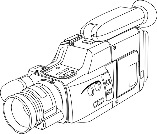 500x429 Outline Drawing Of A Video Camera Technology