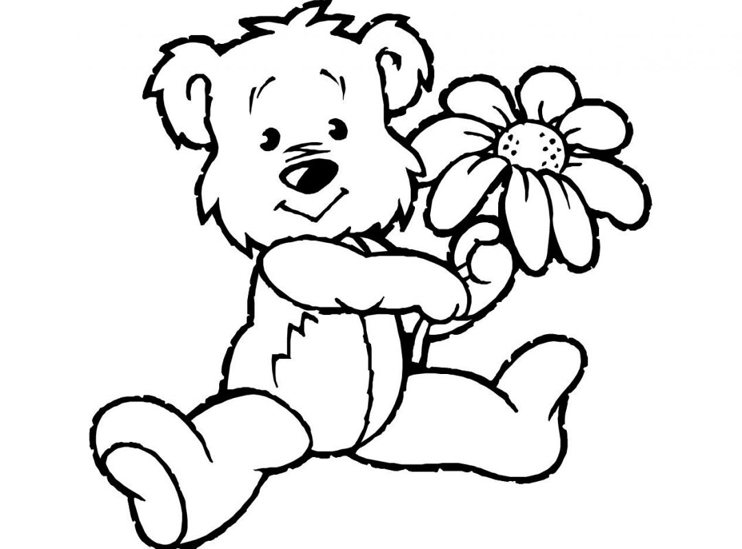 1080x800 Simple Teddy Bear Coloring Page Free Printable Pages Cartoons