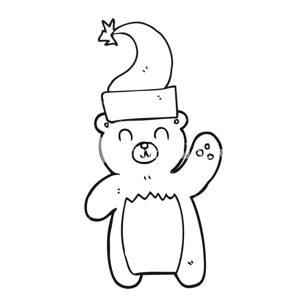 1000x1000 Freehand Drawing Of A Black And White Cartoon Teddy Bear Waving