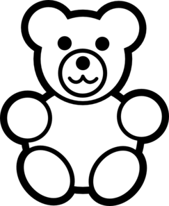 243x297 Circle Teddy Bear Black And White Clip Art