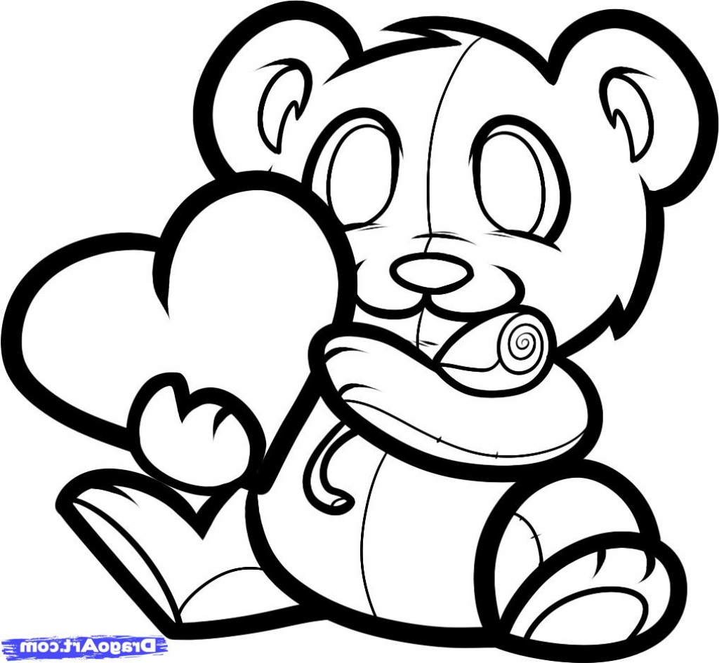 1024x945 A Drawing Of A Teddy Bear How To Draw A Valentines Bear Valentine