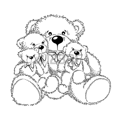 450x450 Drawing Teddy Bears With Bow. Color Vector Illustration Royalty