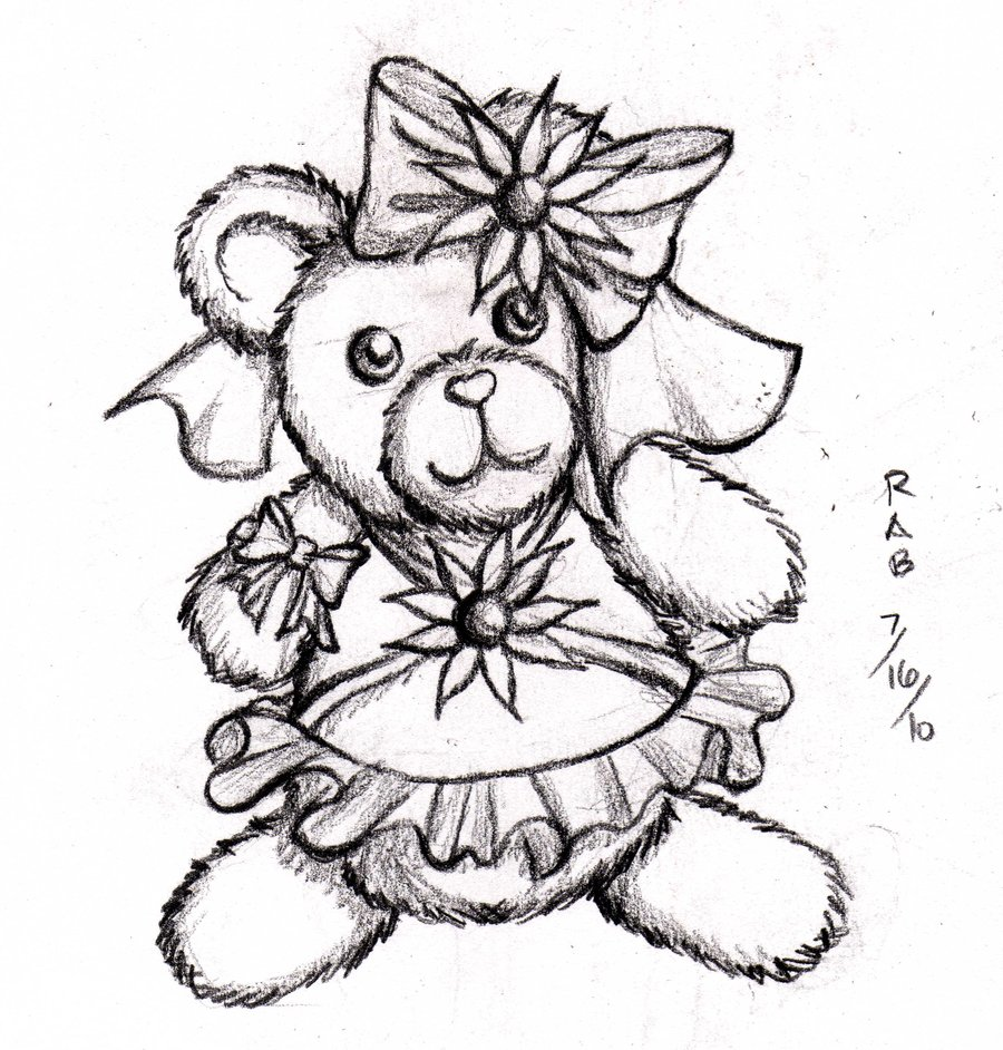 900x942 Teddy Bear Sketch By Animedays