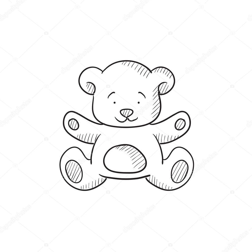 1024x1024 Teddy Bear Sketch Icon. Stock Vector Rastudio