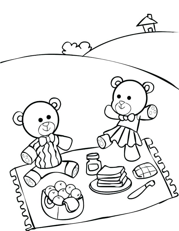 618x800 Entertaining Picnic Coloring Pages New Teddy Bear Color Page Free