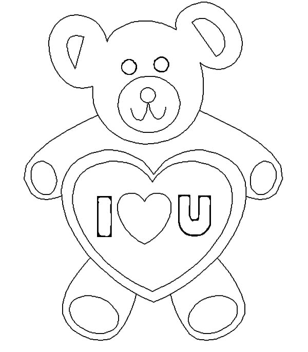 600x686 Teddy Bear I Love You Coloring Pages Batch