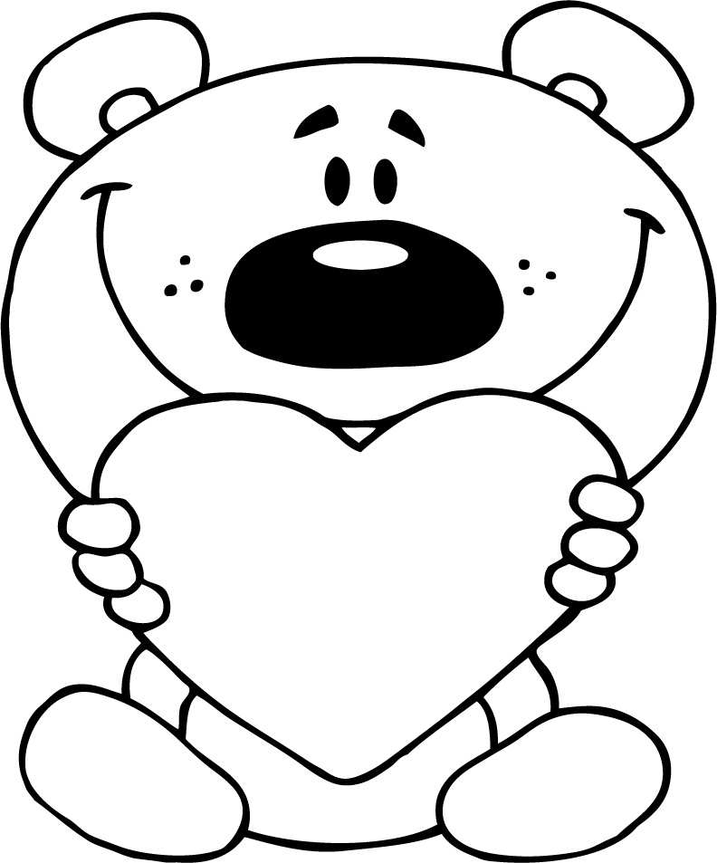 792x953 Cute Love Coloring Page Of Teddy Bear Holding Red Heart