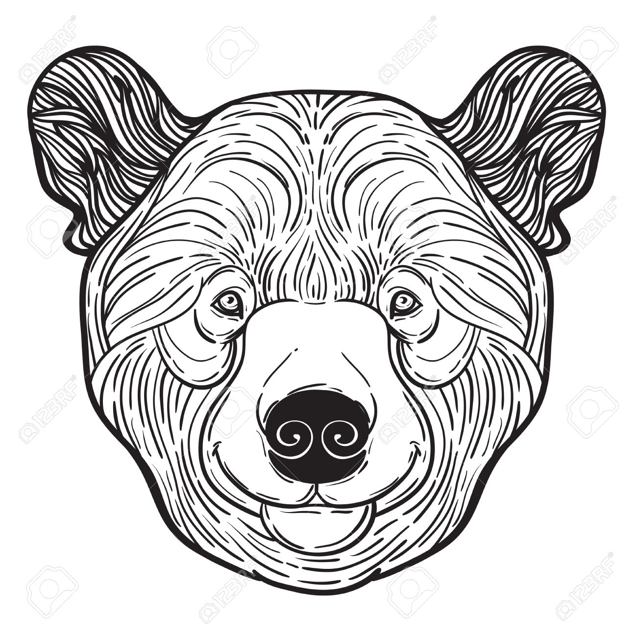 Teddy bear face drawing at free for for Bear head coloring page