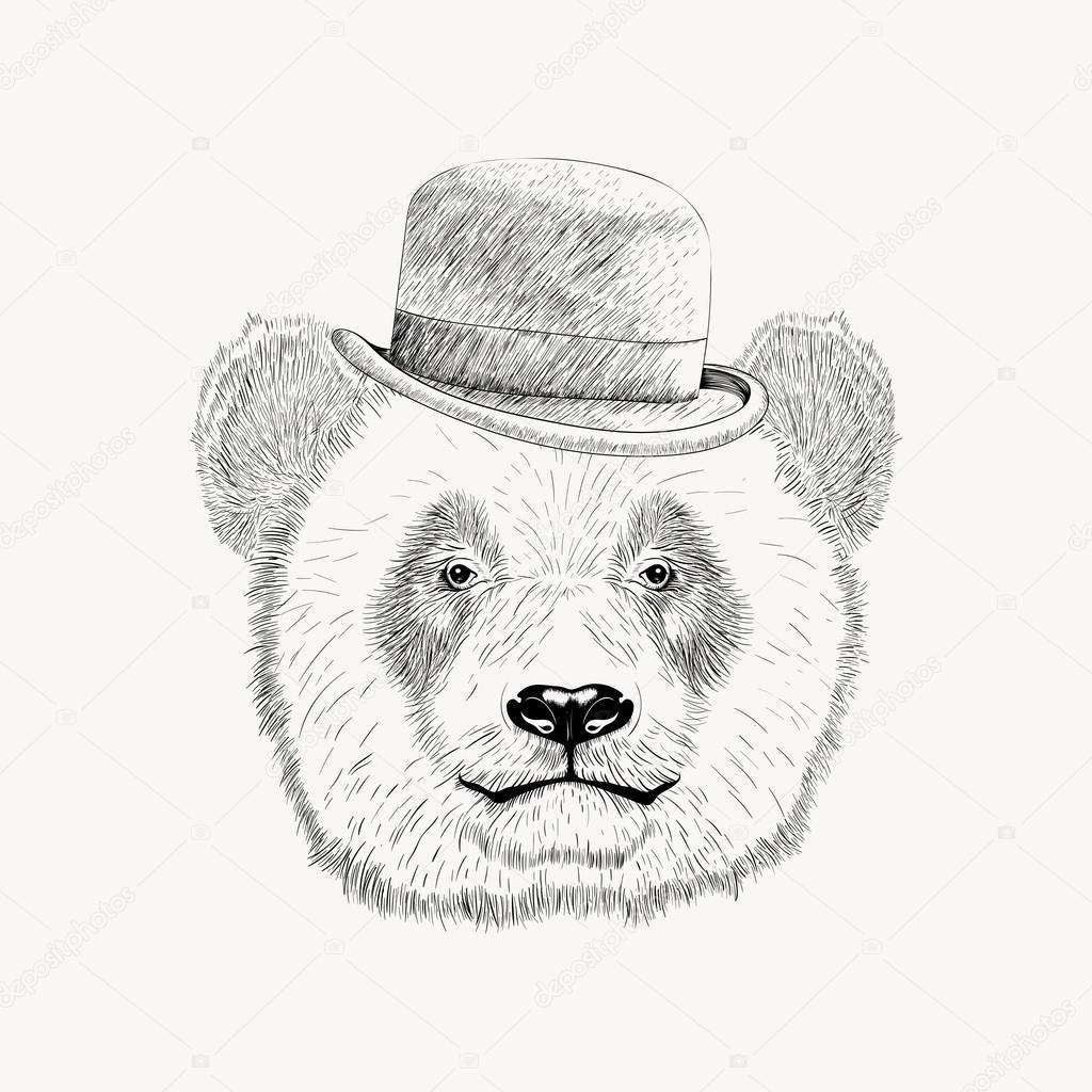 1024x1024 Sketch Panda Face With Black Bowler Hat. Hand Drawn Vector Illus