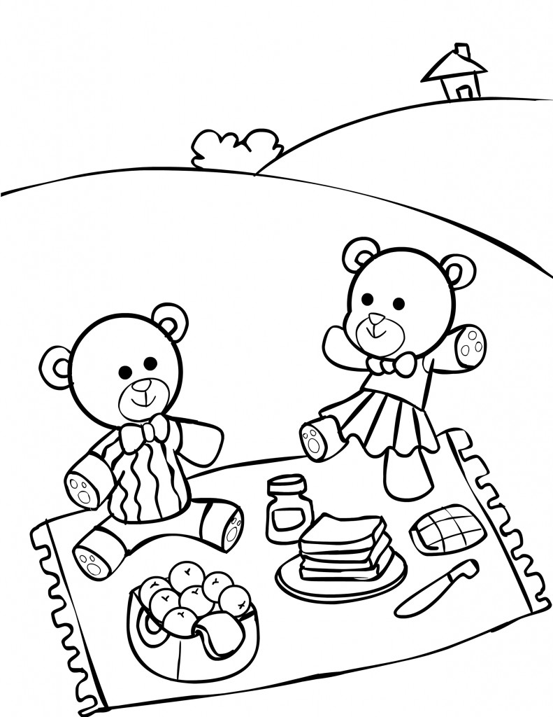791x1024 Picnic Drawing For Kids Teddy Bear Picnic Coloring Pages For Kids