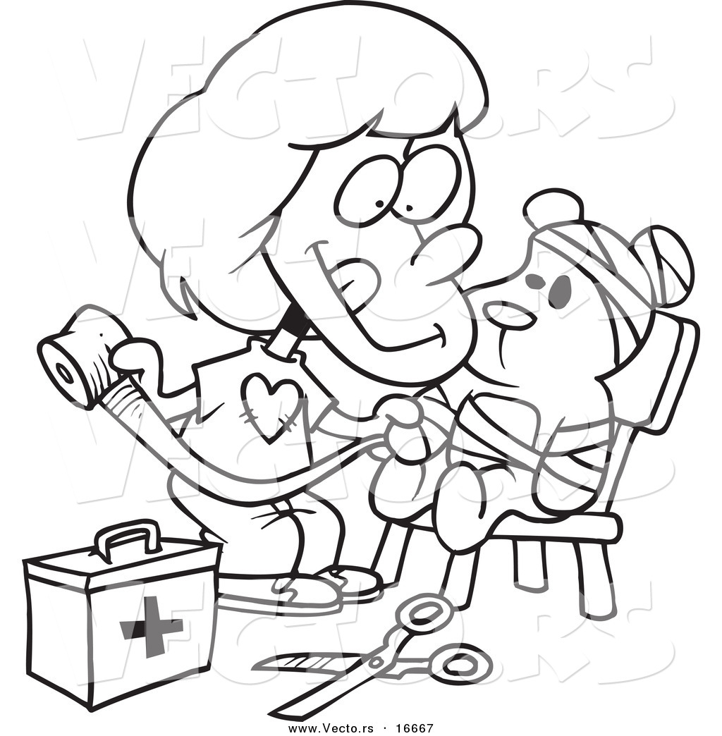 1024x1044 Vector Of A Cartoon Girl Bandaging Up Her Teddy Bear
