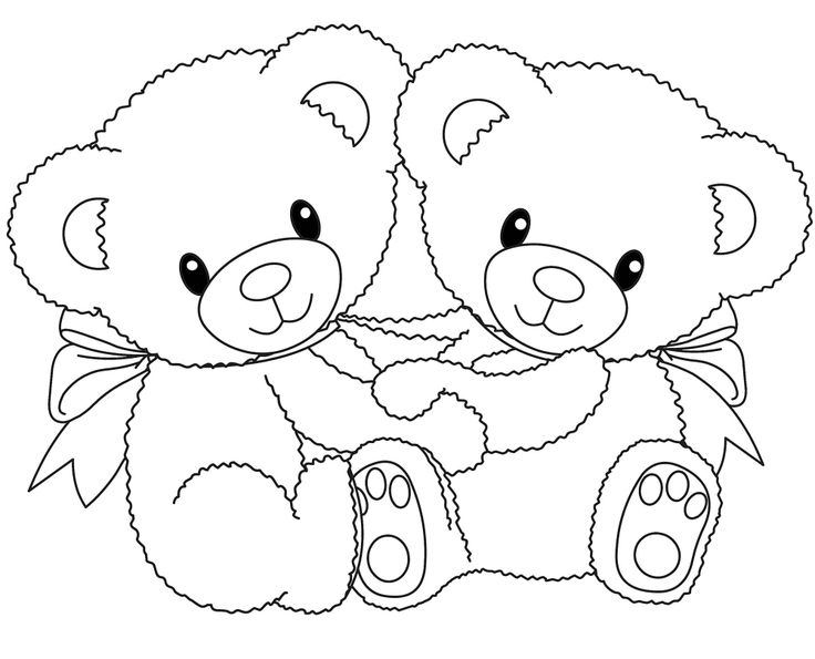 Little Bear With Flower Little Bear With Flower Coloring Pages