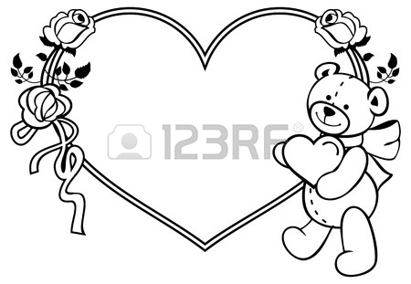450x311 Heart Shaped Frame With Outline Roses, Teddy Bear Holding Heart