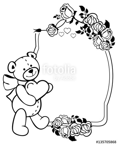 408x500 Oval Label With Outline Roses And Cute Teddy Bear Holding Heart