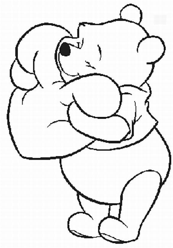 578x830 Pooh Hugging Heart All Things Pooh Coloring Books