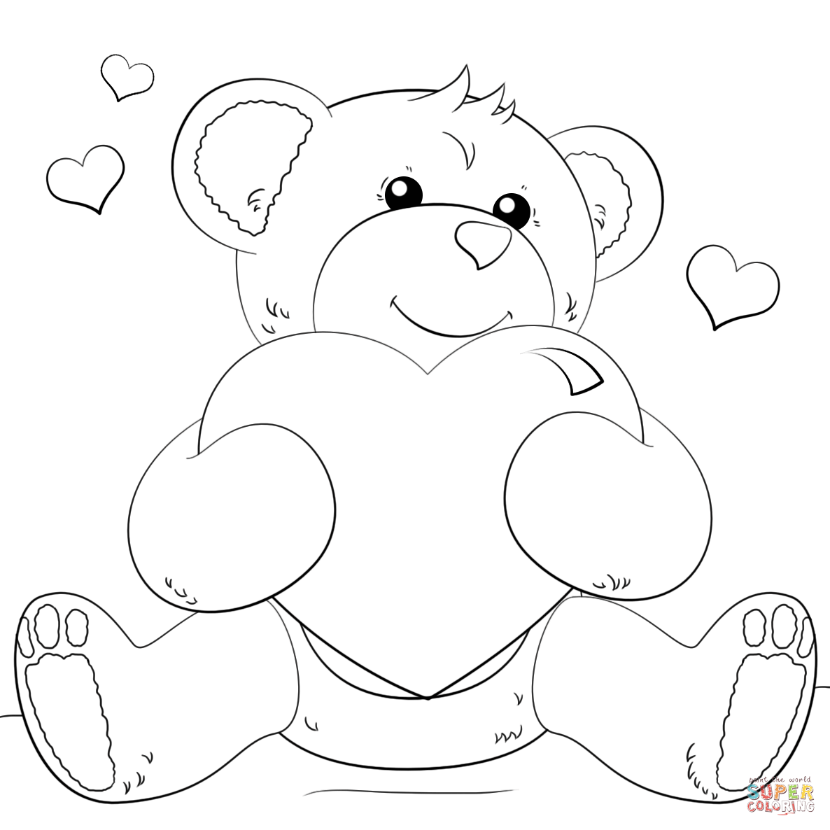 1186x1186 Cute Bear With Heart Coloring Page Free Printable Coloring Pages