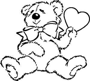 300x270 Teddy Bear With Heart Coloring Pages Coloring Page For Kids