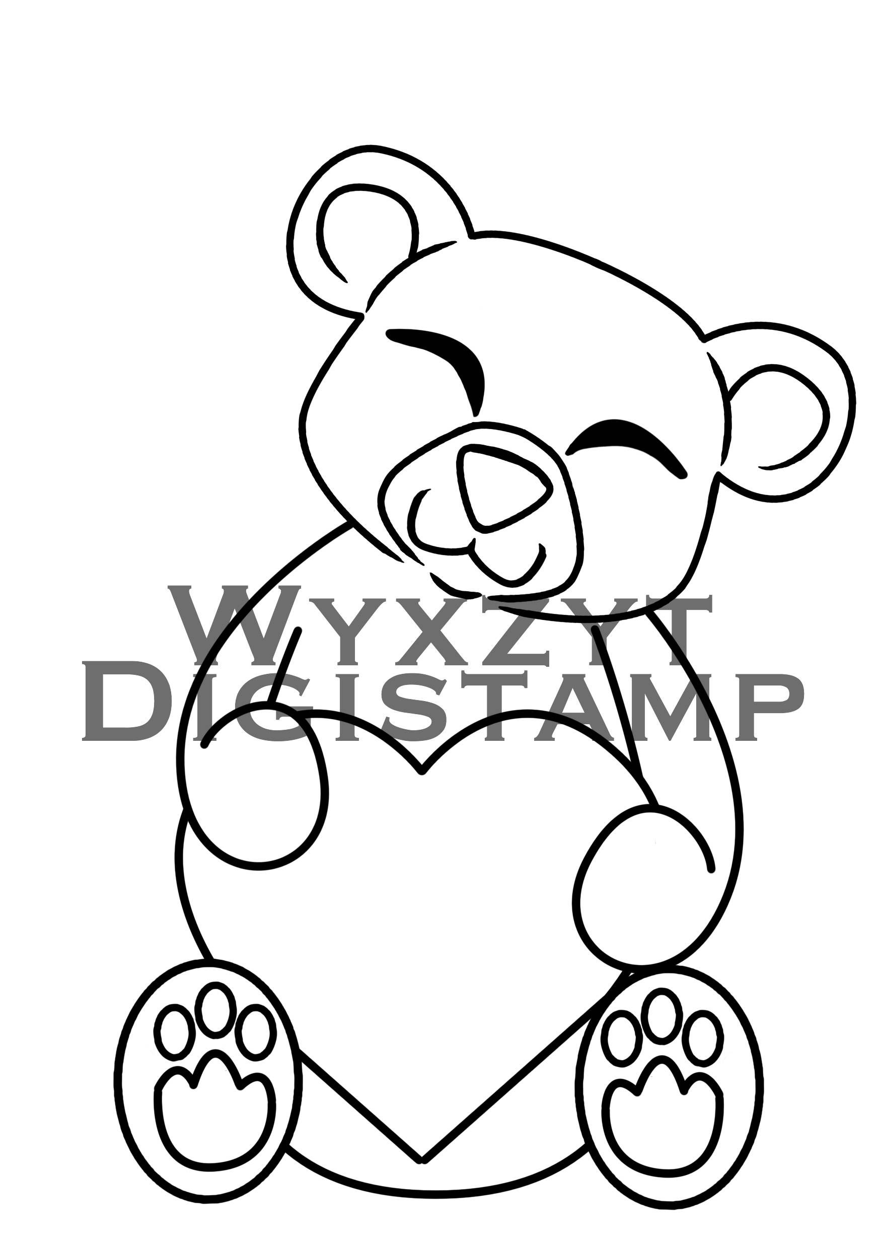 1748x2480 Cute Teddy Bear Holding Heart Digital Stamp Instant Download