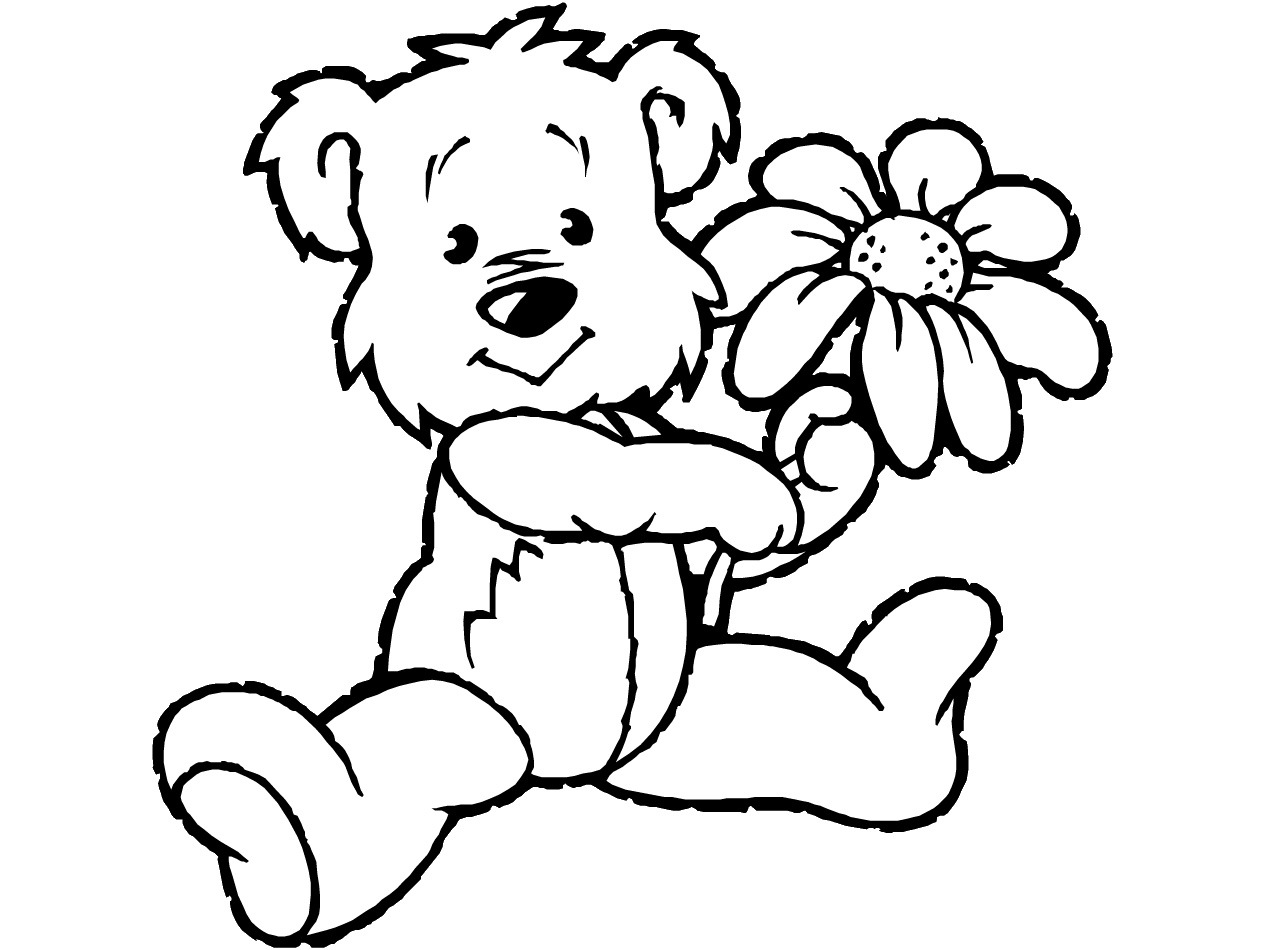 1266x950 Teddy Bear With Heart Coloring Pages Kids