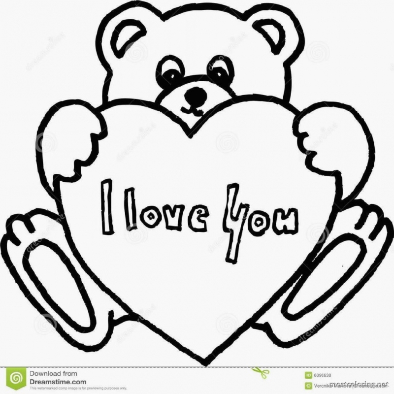 coloring pages teddy bear heart | Teddy Bears Drawing at GetDrawings.com | Free for personal ...