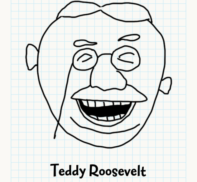 632x586 Teddy Roosevelt Badly Drawn Faces Answers, Walkthrough, Cheats