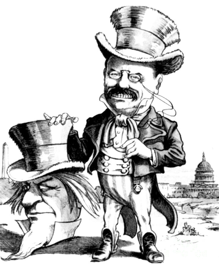 737x900 Teddy Roosevelt Cartoon Photograph By Granger