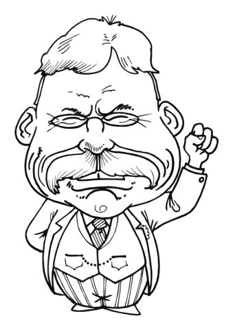 339x480 Theodore Roosevelt Caricature Coloring Page Free Printable