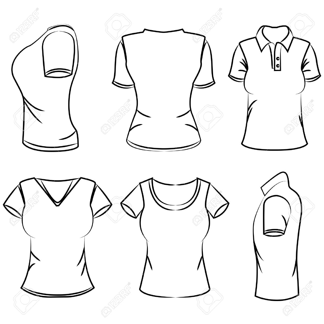 1300x1300 Sketch Women's Polo T Shirt Royalty Free Cliparts, Vectors,