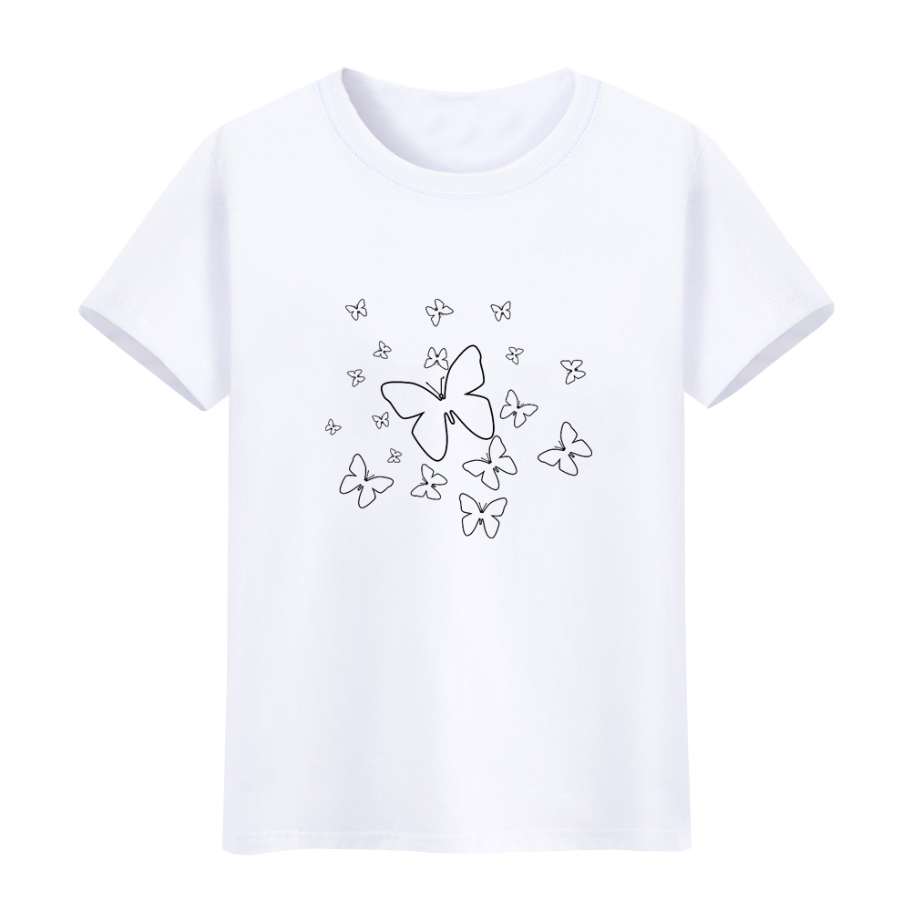 1001x1001 Butterfly Simple Drawing Women Round Neck Short Sleeve Summer Top