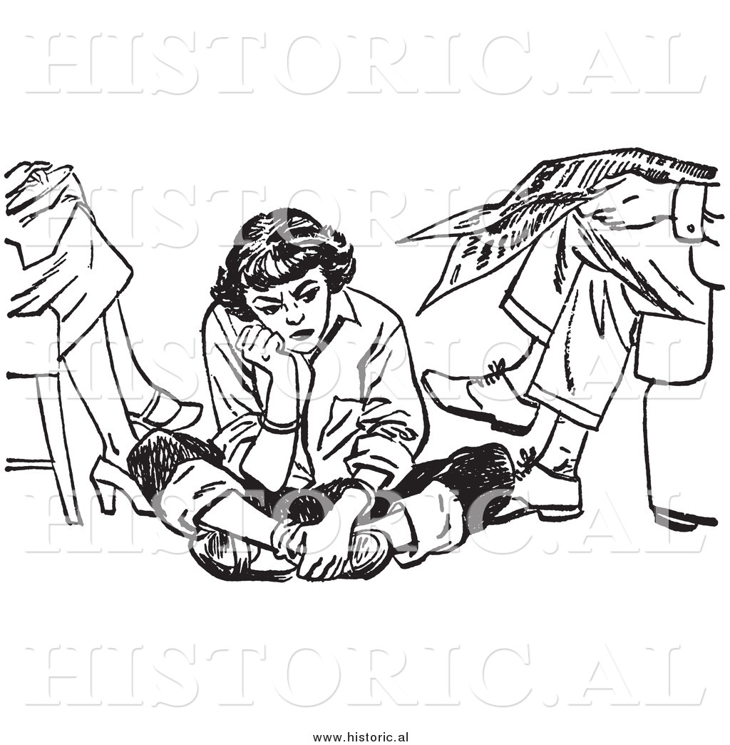 1024x1044 Illustration Of An Angry Teen Girl Pouting While Sitting On