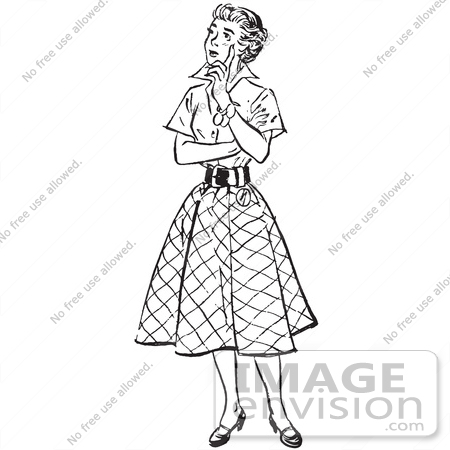 450x450 Retro Clipart Of A Vintage Teenage Girl Thinking In Black