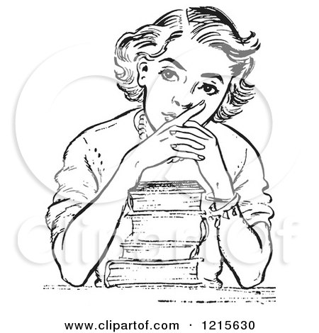 450x470 Retro Vector Clipart Of A Vintage Teen High School Girl Thinking
