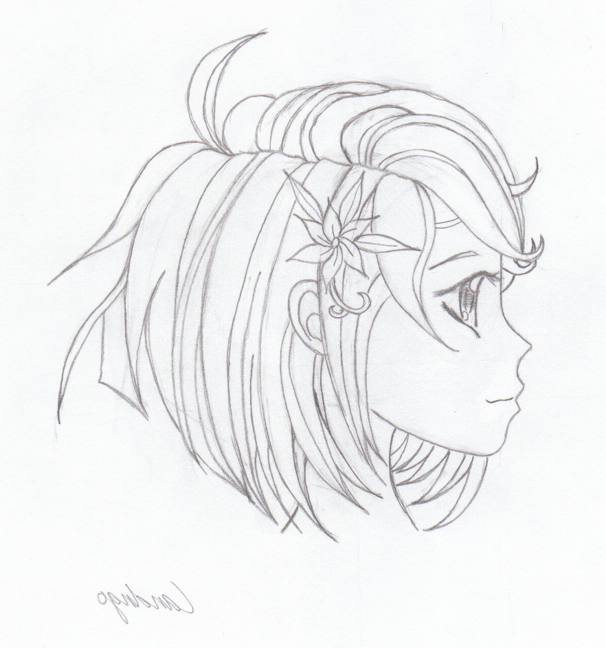 882x944 Drawing In Girls Face In Side Teen Girl's Side View