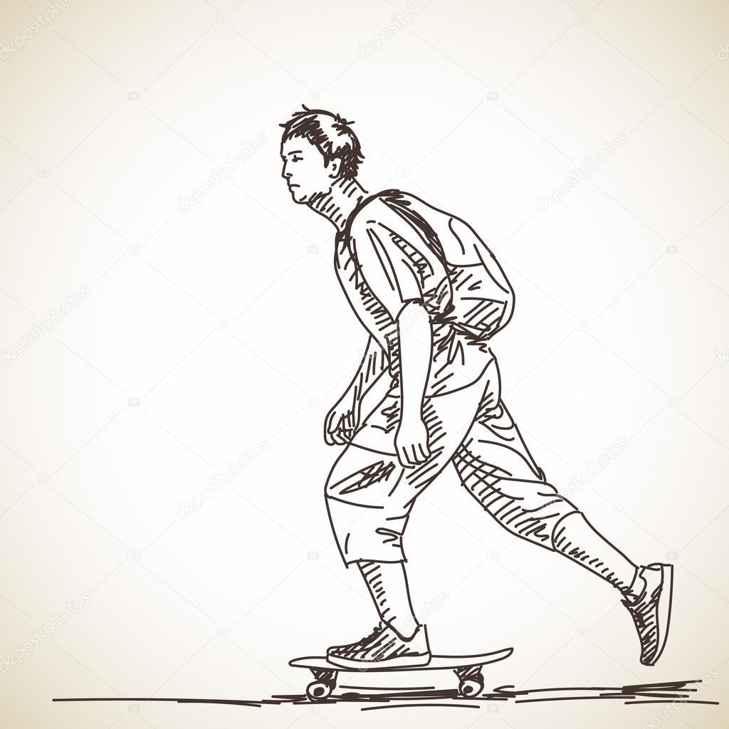 1024x1024 Teenager Boy On Skateboard Stock Vector Olgatropinina