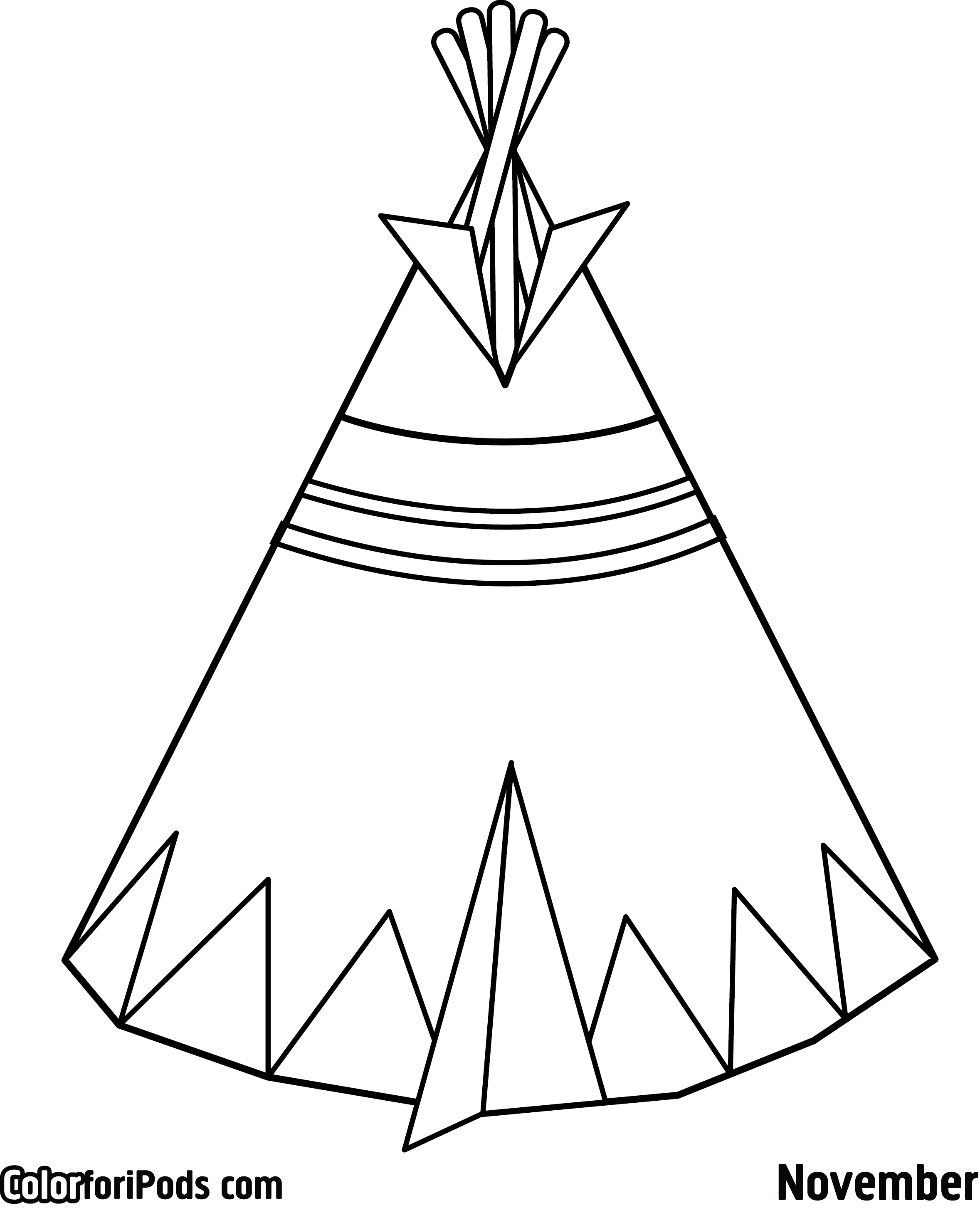 teepee craft template - teepee drawing at free for personal use