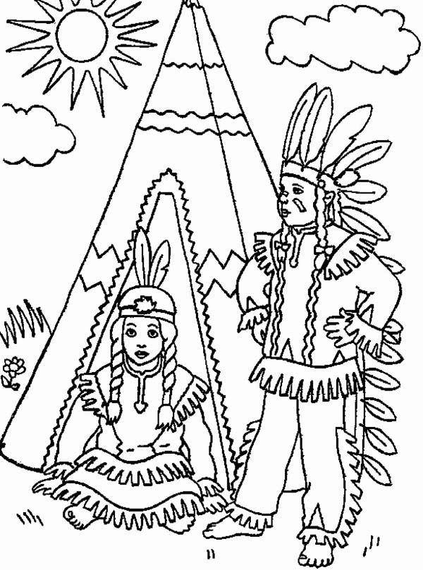 600x809 Two Native American In Front Of Teepee On Native American Day