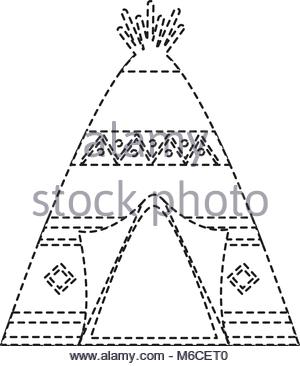 300x366 Native American Indian Teepee Home With Tribal Ornament Front View