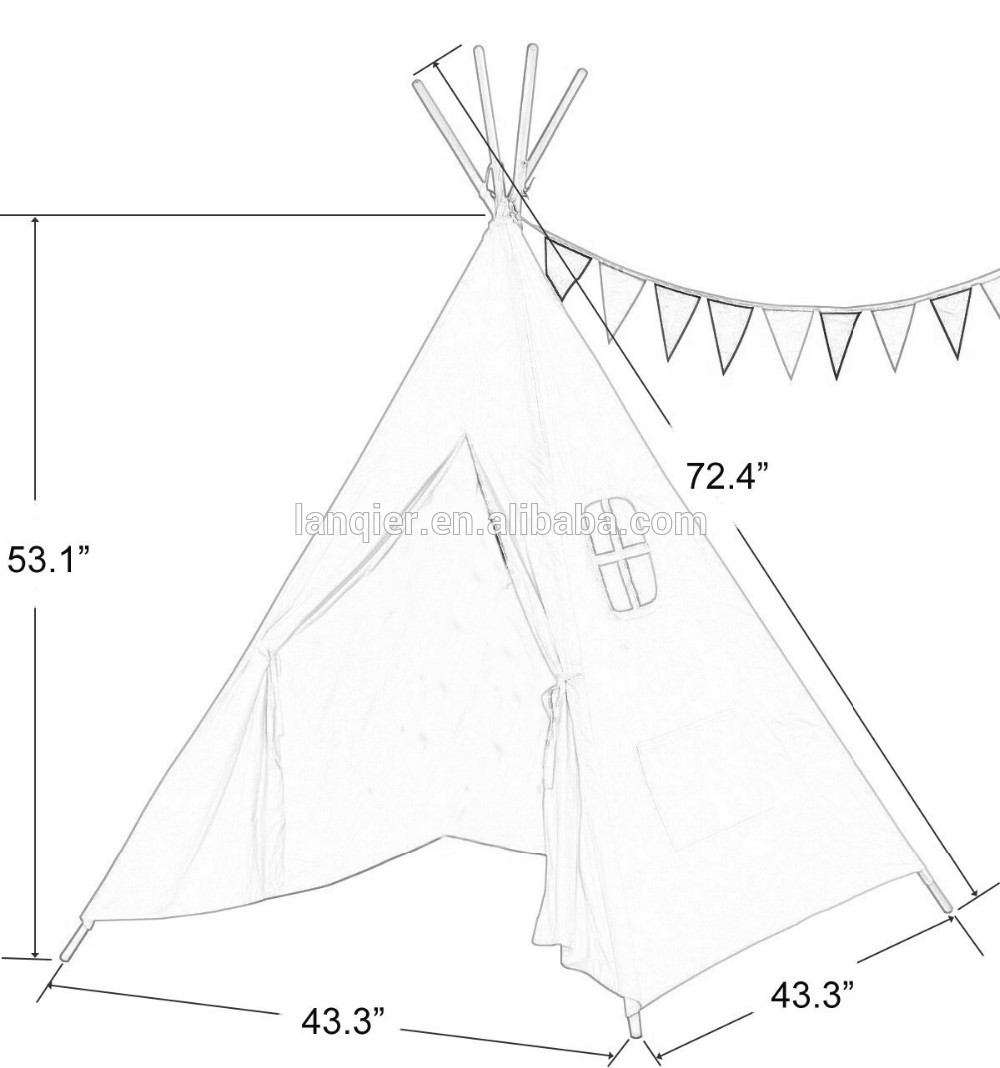 1000x1068 Baby Teepee Tent Canvas Fabric Folding Wood Kids Play