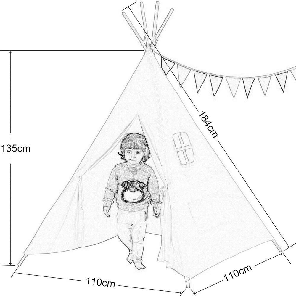 1000x1000 Dream House Indoor White Teepee Play Reading Canvas Tents For Kids