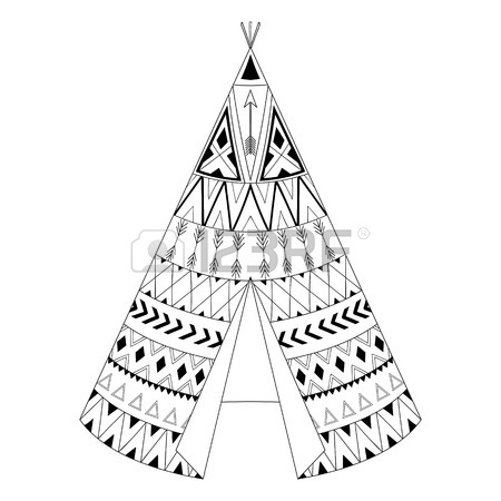 450x450 Hand Drawn American Native Wigwam With Ethnic Ornamental Elements