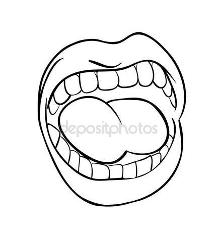 431x449 Shouting Lips With Teeth And Tongue Cartoon Outline Vector Symbo