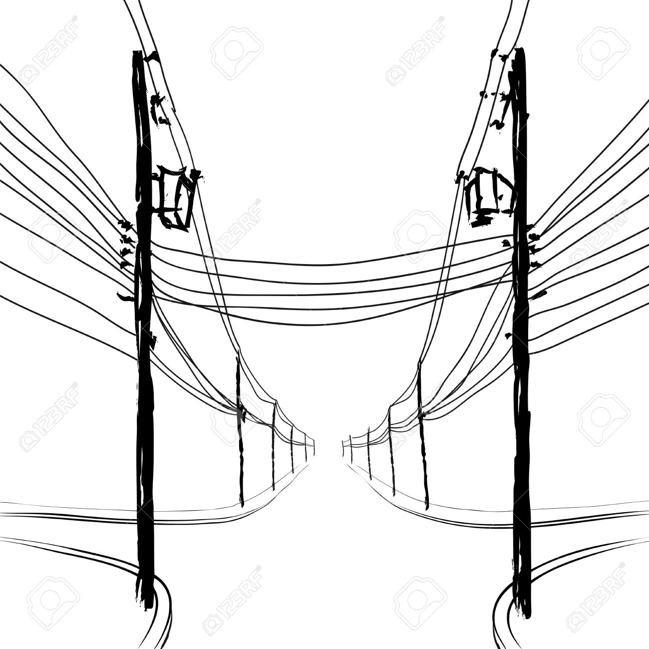 Telephone Pole Drawing At Free For Personal Use Wires Diagram 1300x1300 Poles With Royalty Cliparts Vectors And Stock