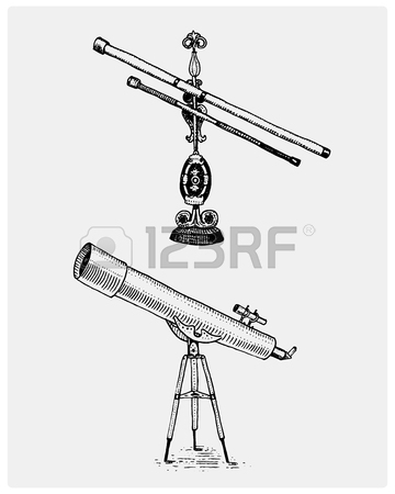 360x450 Astronomical Telescope, Vintage, Engraved Hand Drawn In Sketch