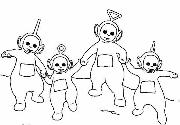 600x416 The Teletubbies Walking Around Together Coloring Page Color Luna