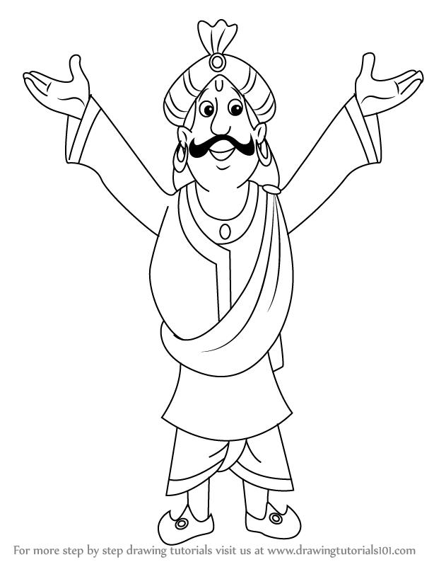 614x794 Learn How To Draw Raja Indravarma From Chhota Bheem (Chhota Bheem
